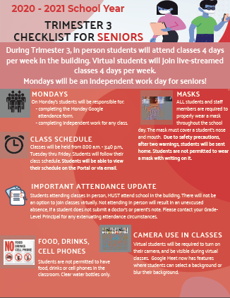 2020-2021 Trimester Three In-person Learning Senior Checklist