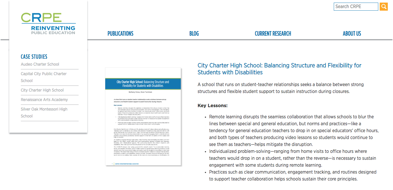 City Charter High School: Balancing Structure and Flexibility for Students with Disabilities